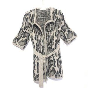 Stella McCartney Gray leopard print sweater jacket